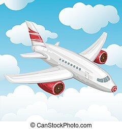 voler, avion, dans, les, sky.