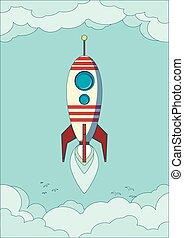 voler, ciel, fusée, espace