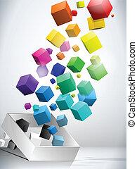 voler, coloré, fond, cubes