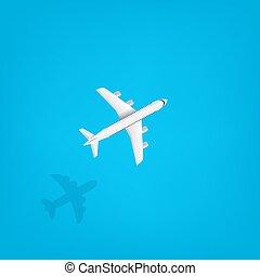voler, concept, vecteur, sous, moderne, voyage, avion, sea.