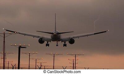 voler, coucher soleil, aéroport, silhouette, passager, ...