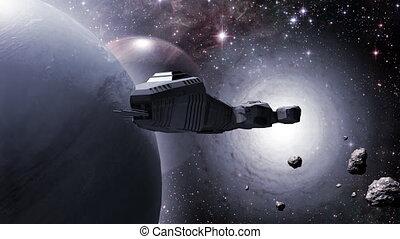 voler, dehors, stargate, vaisseau spatial