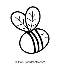 voler, dessin animé, mignon, style, icône, ligne, insecte, abeille