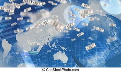 voler, factures, haut, dollar