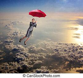 voler, femme, parapluie, ciel