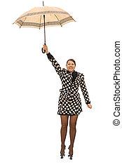 voler, femme, parapluie