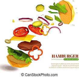 voler, hamburger, illustration, 3d
