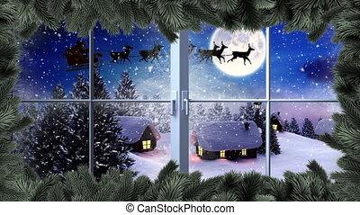 voler, hiver, santa, traîneau, renne, arbre, noël, frontière, paysage