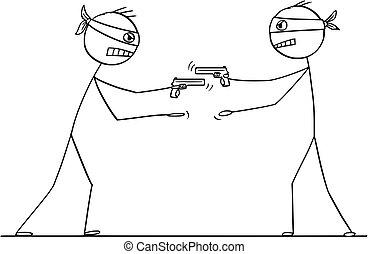 voler, hommes, fusil, même, deux, autre, temps, essayer, dessin animé
