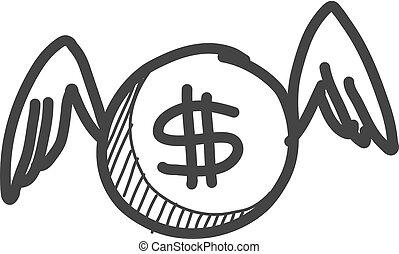 voler, icône, monnaie, croquis, illustration., vecteur, style., main, dessiné