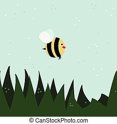 voler, illustration, abeille