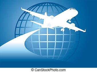 voler, la terre, autour de, avion