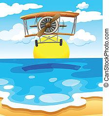 voler, mer, au-dessus, avion
