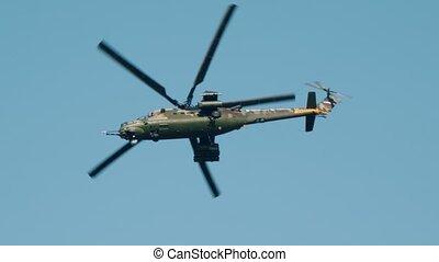 voler, militaire, camouflage, ciel, vert, hélicoptère