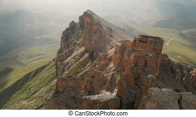 voler, montagne, dièse, aérien, sur, extrême, mountaineering., escarpé, bourdon, rocher, vol, rocheux, vue, formations, vidéo, voyage, affleurements, sunset.