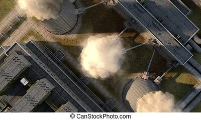 voler, nuisible, fumée, animation, render., chimney., 3d, lisser, smoke.