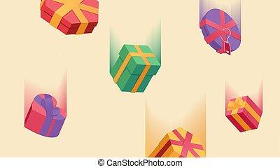 voler, paquets, arrière-plan., décoratif, jaune, noël, surprises, fête, boîtes, vert, année, couleur, pluie, nouveau, beige., noël, toile de fond, isolé, cadeau, anniversaire, emballé, giftboxes, présente, tomber