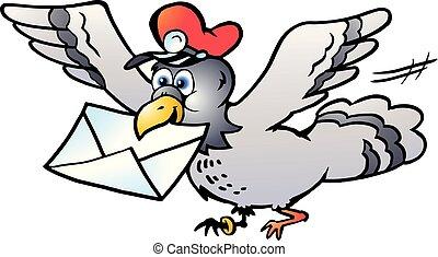 voler, pigeon, illustration, vecteur, lettre, poste, dessin animé