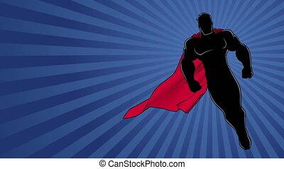 voler, rayon, fond, 2, lumière, superhero, silhouette