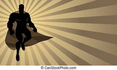 voler, rayon, superhero, silhouette, 2, lumière