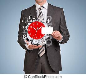 voler, rouage horloge, figures, vide, prise, carte, homme