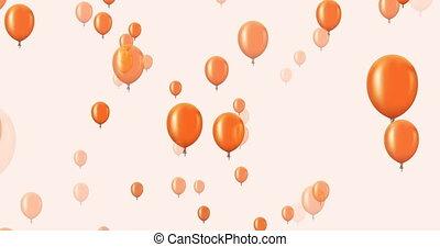 voler, sombre, arrière-plan., animation, orange, ballons
