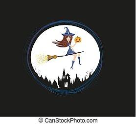 voler, sorcière, moonlight., balai