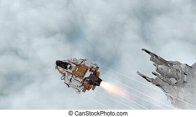 voler, spaceships, nuages, scifi