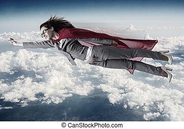 voler, superwoman, au-dessus, cieux
