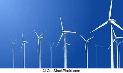 voler, turbines, animation, vent