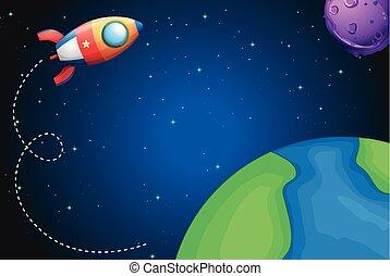 voler, vaisseau spatial, sur, la terre