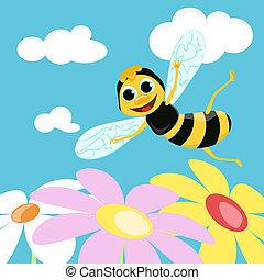 voler, vecteur, bee., illustration