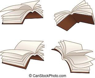 voler, vecteur, livres, illustration