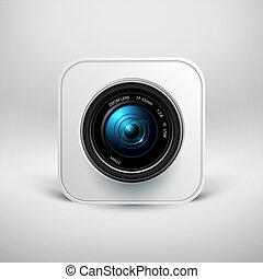 volet, appareil-photo photo, lentille, icône