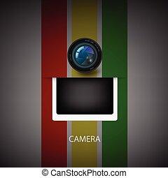 volet, icon., appareil photo, vecteur