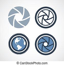 volet, illustration, appareil photo, vecteur