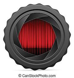 volet, rideau, appareil photo, rouges