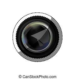 volet, silhouette, couleur, autocollant, lentille, réaliste, appareil photo, ouvert, analogue
