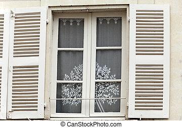 volets, fenêtre, blanc