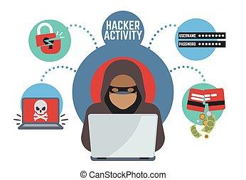voleur, criminel, vecteur, ligne, espions, argent, pirate ...