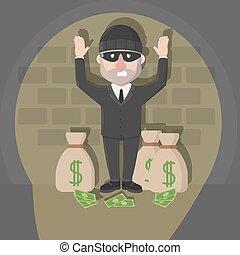 voleur, homme affaires, attrapé, sac