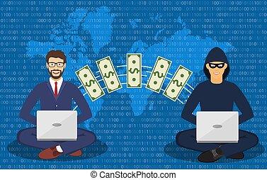 voleur, scammer., cyber, internet