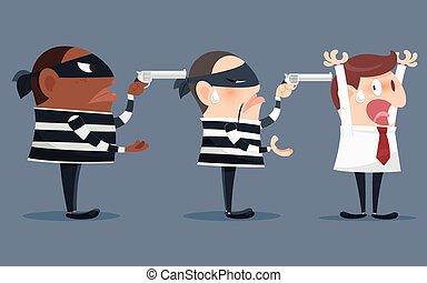voleur, tenue, fusil