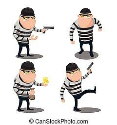 voleur, voler, caractère, dessin animé, grand