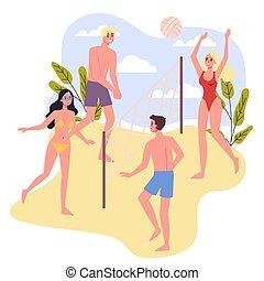 voleyball., 浜の 休暇, 遊び, 人々, 旅行, concept.