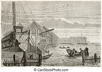 Volga fishermen old illustration. Created by Moynet, published on Le Tour du Monde, Paris, 1867