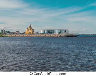 Volga river in Nizhny Novgorod Time-lapse - Beautiful view...