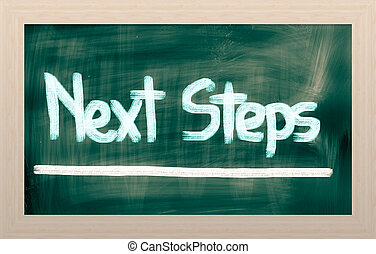 volgende, stappen, concept