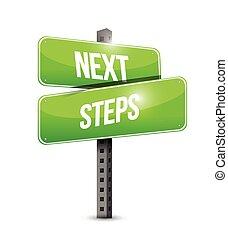 volgende, stappen, wegaanduiding, illustratie, ontwerp