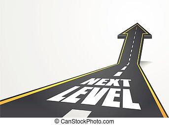 volgende, straat, niveau